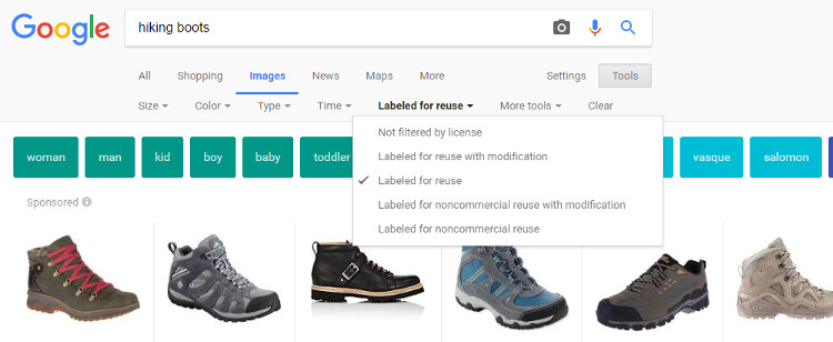 Google Image Copyright Settings Tool